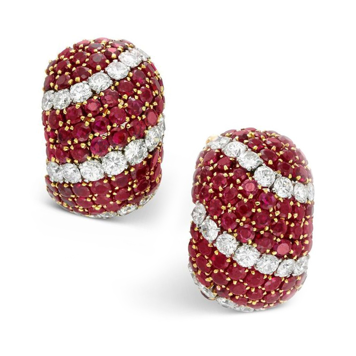 A Pair of Ruby and Diamond 'Pelouse' Ear Clips, by Van Cleef & Arpels, circa 1965