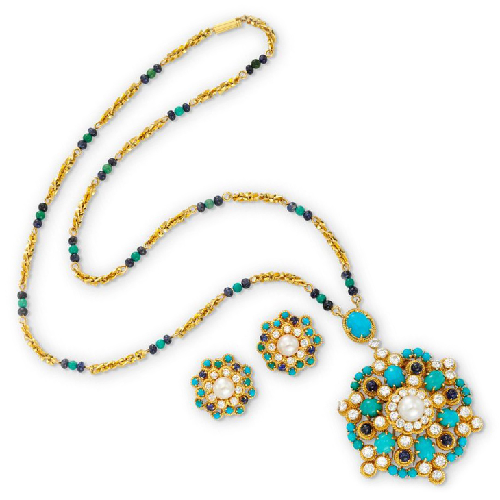 A Turquoise, Sapphire, Cultured Pearl and Diamond Pendant Necklace, and Ear Clips en suite, by Van Cleef & Arpels, circa 1965
