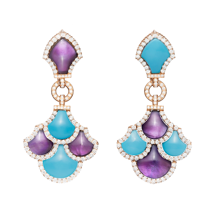 A Pair Turquoise, Amethyst and Diamond 'Irene' Earrings, by Bodino