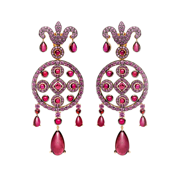 A Pair of Sapphire and Rubellite 'Caterina' Earrings, by Bodino