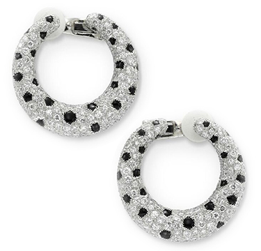 A Pair of Onyx and Diamond Panther Hoop Ear Clips, by Cartier