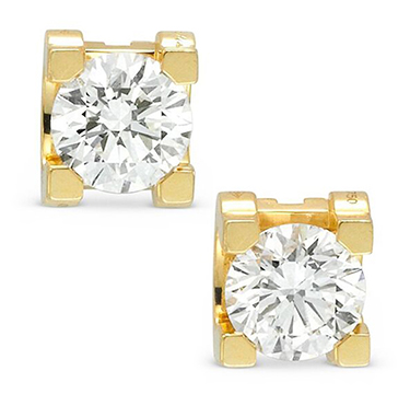 A Pair of Diamond and Gold Ear Studs, Cartier