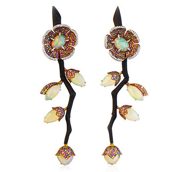 A Pair Of Opal, Sapphire And Diamond Earrings, Mounted In Gold And Carbon Fiber, By Fabio Salini
