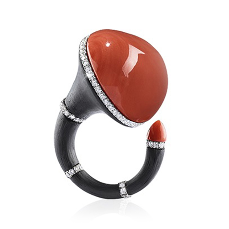 A Coral and Diamond Ring, mounted in carbon fiber and gold, by Fabio Salini