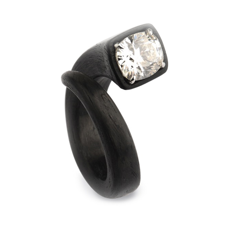 A Cushion-cut Diamond and Carbon Fiber 'Chiodo' Ring, by Fabio Salini