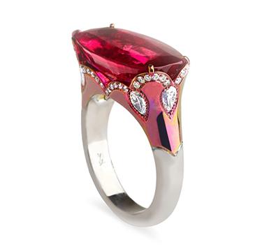 A Rubellite and Diamond Ring, Mounted in Titanium, by Fabio Salini