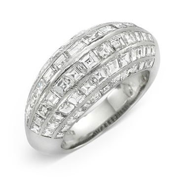 A Diamond and Platinum Bombe Band Ring, by Van Cleef & Arpels, circa 1945