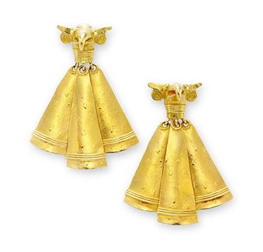 A Pair of Gold Ear Pendants