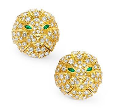 A Pair of Emerald and Diamond Lion Ear Clips, by Boucheron, circa 1970