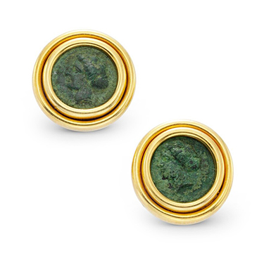 A Pair of Ancient Coin and Gold Ear Clips, by Bulgari, circa 1985