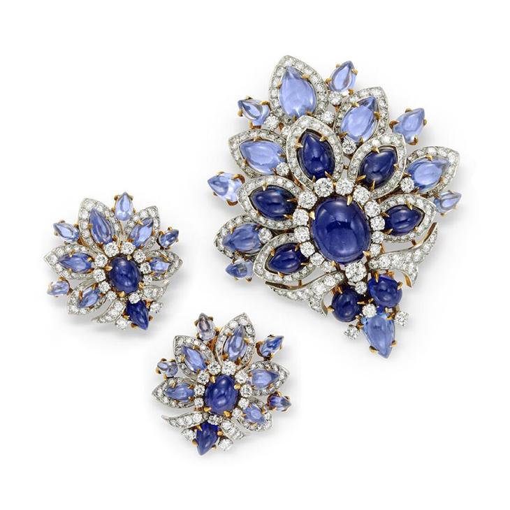 A Cabochon Sapphire and Diamond Demi-Parure
