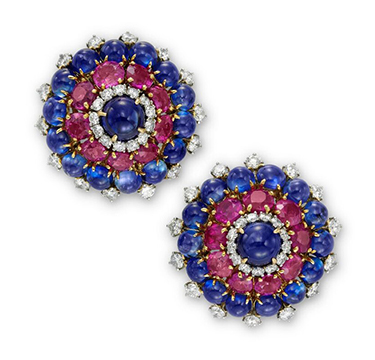 A Pair of Sapphire, Ruby and Diamond Cluster Ear Clips, circa 1960