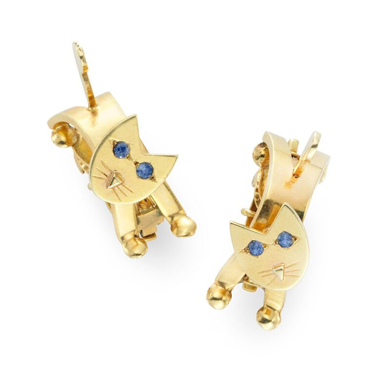 A Pair of Sapphire and Gold 'CAT' Ear Clips, circa 1940