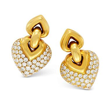 A Pair of Gold and Diamond Ear Pendants, by Bulgari, circa 1990
