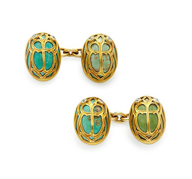An Antique Pair Of Hardstone And Diamond Scarab Cufflinks, Circa 1900