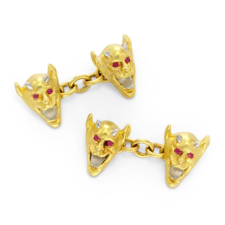 A Pair of Early 20th Century Gold and Ruby 'Devil' Cufflinks