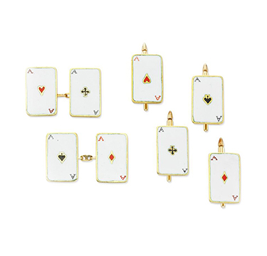 An Early 20th Century Enamel and Gold 'Deck of Cards' Dress Set