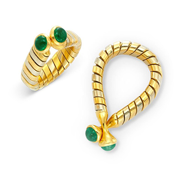 A Pair of Bi-colored Gold and Emerald 'Tubogas' Cufflinks, by Bulgari, circa 1990