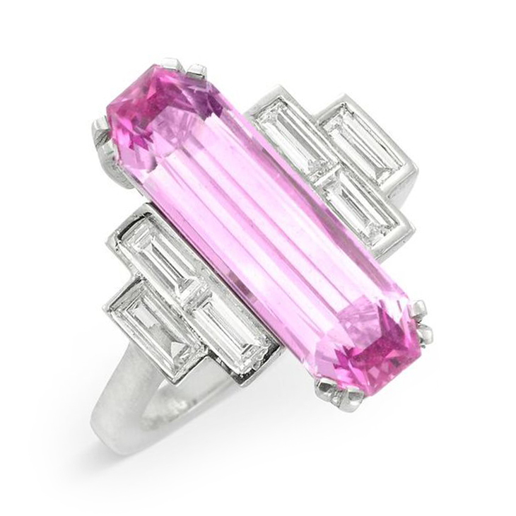 An Early 20th Century Elongate Baquette-cut Pink Topaz and Diamond Ring
