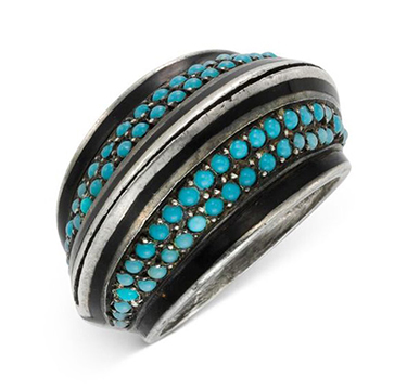 A Turquoise, Black Enamel and Silver Ring, by Boivin, circa 1920