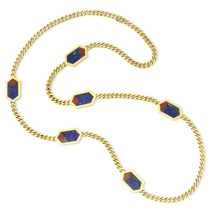 A Lapis Lazuli, Carnelian and Gold Long Chain Necklace, circa 1985