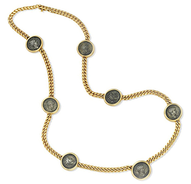 An Ancient Coin and Gold Sautoir Necklace, by Bulgari, circa 1985
