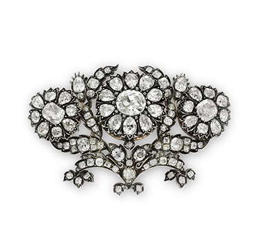 An Antique Old Mine Diamond Garland Cluster Brooch, set in silver, circa 19th century