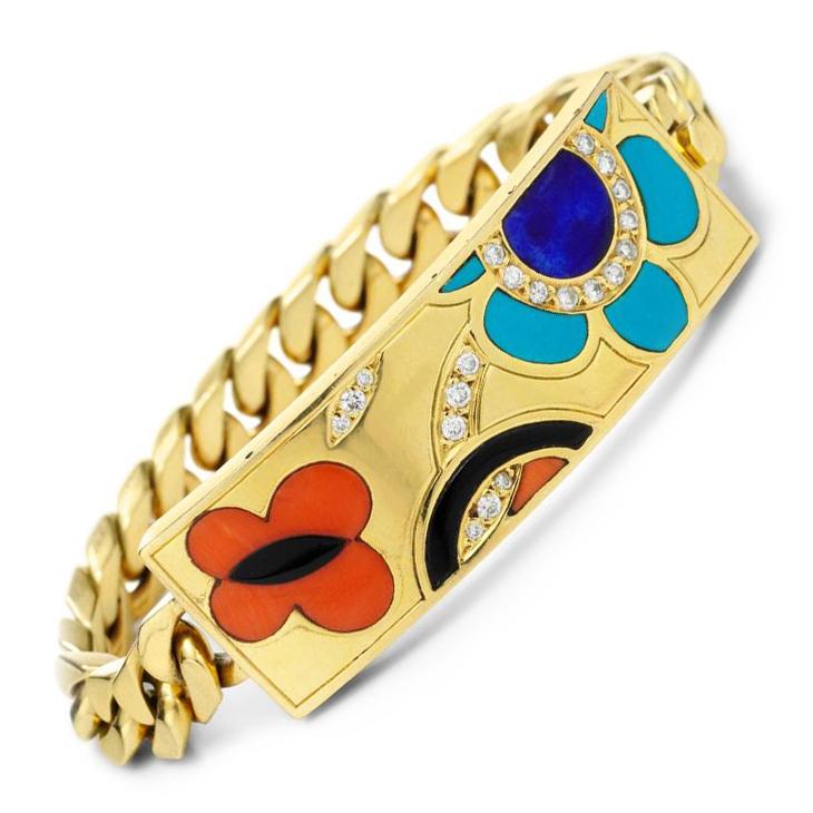 A Multi-Gem and Diamond 'ID Bracelet', by Bulgari, circa 1990