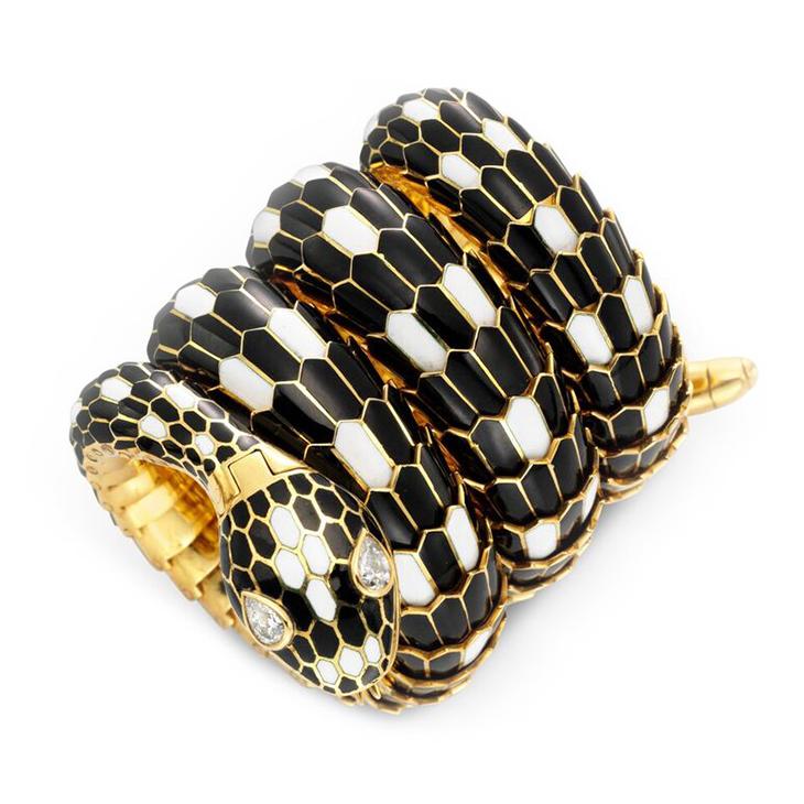 A Black and White Enamel and Diamond 'Serpenti' Bracelet Watch, by Bulgari, circa 1960