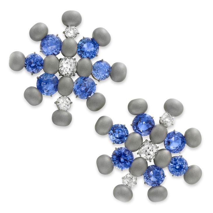 A Pair of Ceylon Sapphire, Diamond and Titanium Ear Clips, by SABBA