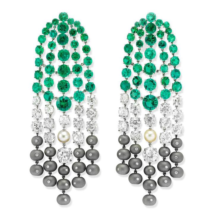A Pair of Emerald, Diamond, Pearl and Titanium Ear Pendants, by SABBA
