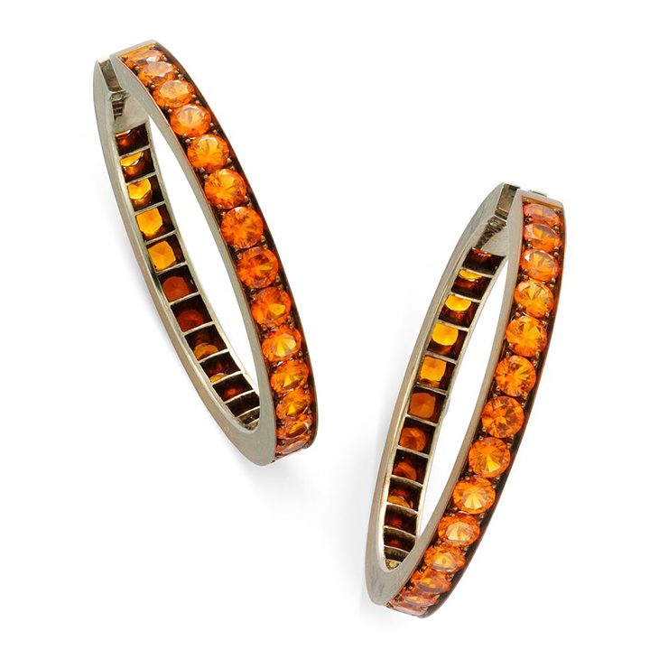 A Pair of Orange Sapphire and Copper Hoop Earrings, by Hemmerle