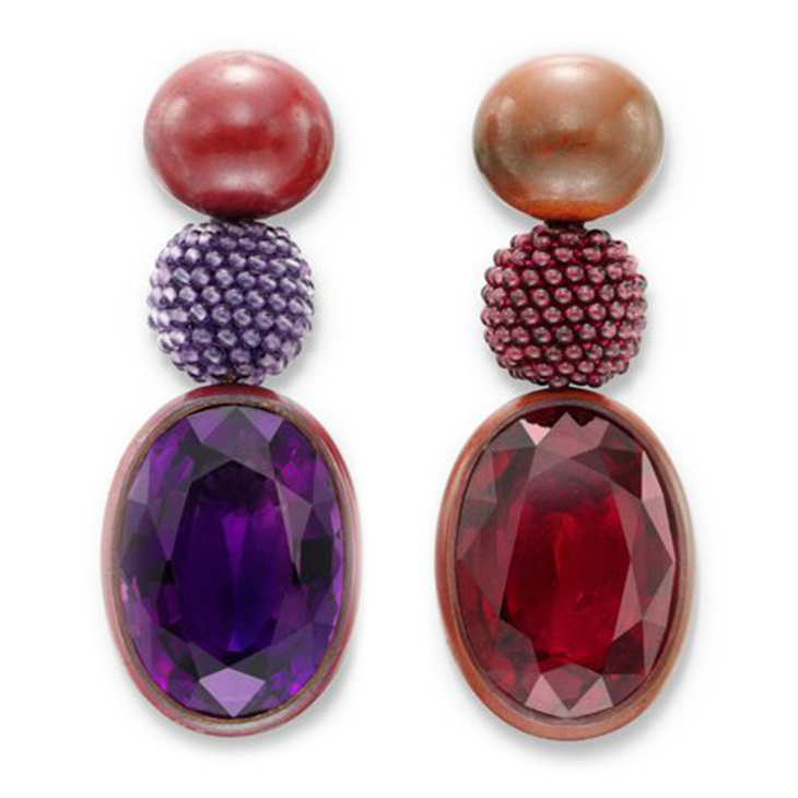 A Pair of Tourmaline and Amethyst Ear Pendants, by Hemmerle
