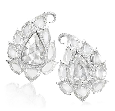 A Pair of Rose and Flat-cut Diamond Tulip Ear Clips, by Bhagat