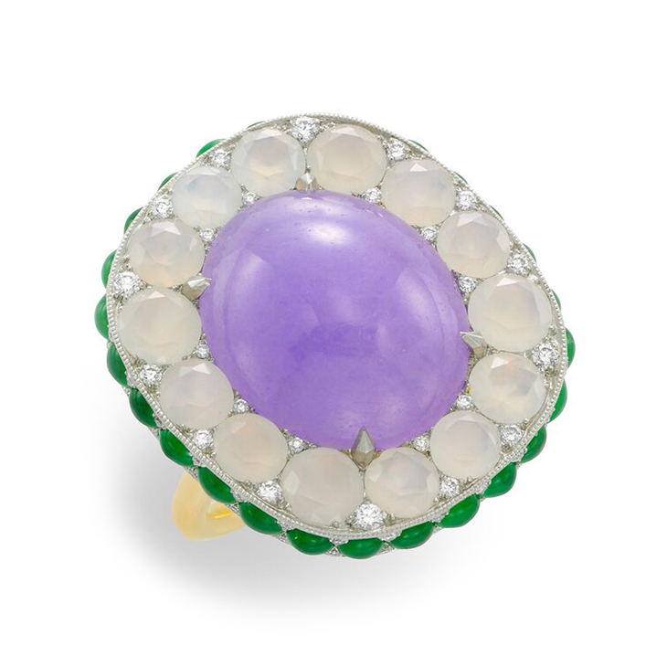 A Lavender Jade, Green Jade and Agate Ring, by SABBA