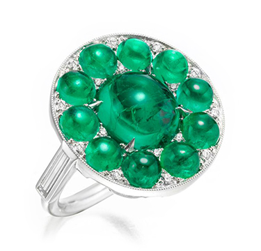 A Colombian Cabochon Emerald and Diamond Ring, by SABBA