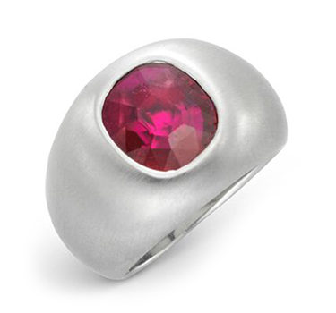 A Cushion-cut Ruby