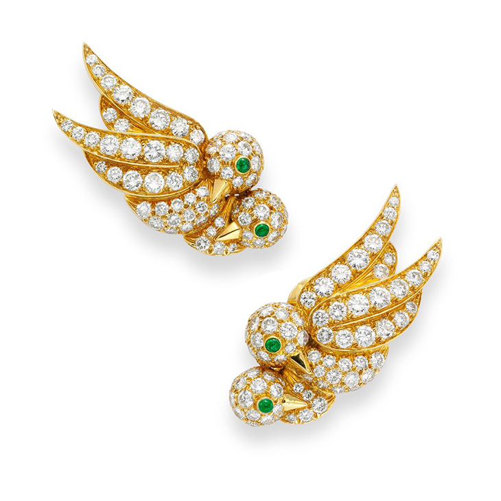 A Pair of Emerald and Diamond Bird Ear Clips, by Van Cleef & Arpels, circa 1970