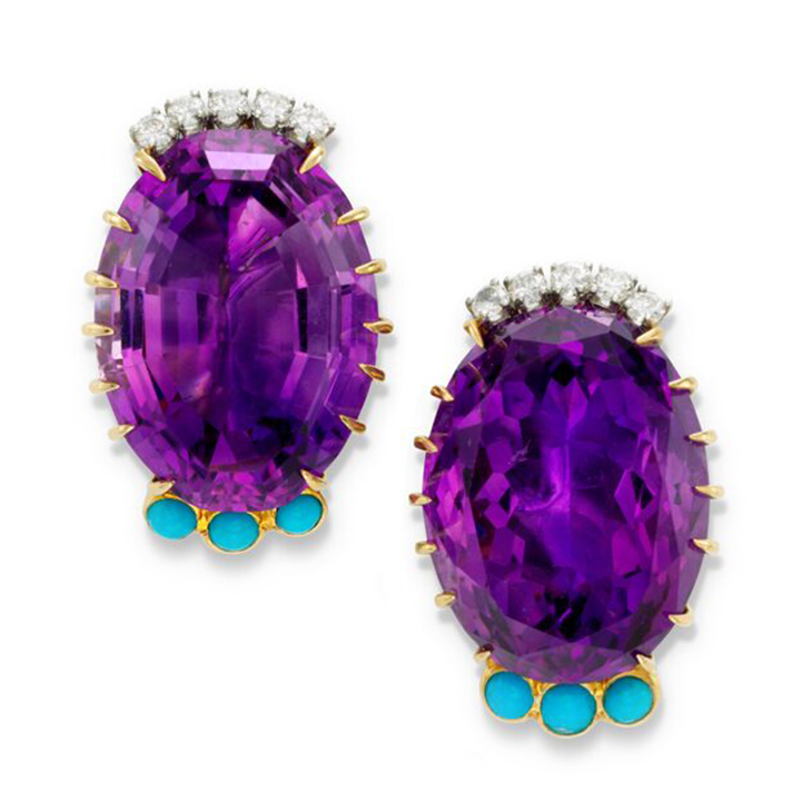 Amethyst, Turquoise and Diamond Ear Clips, by Cartier, circa 1950