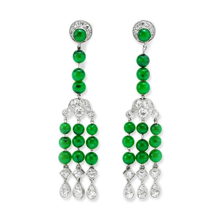 A Pair of Art Deco Jade and Diamond Ear Pendants, by Cartier, circa 1925