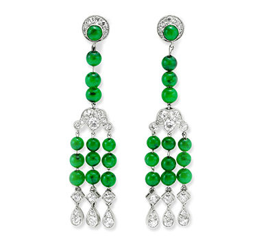 A Pair Of Art Deco Jade And Diamond Ear Pendants, By Cartier, Circa 1925