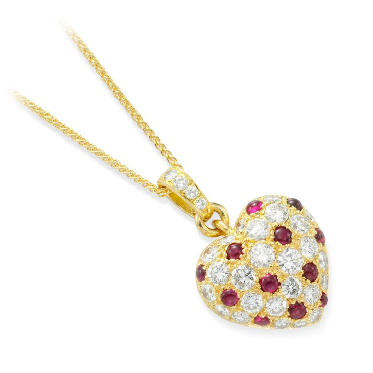 A Cabochon Ruby and Diamond Heart Pendant, by Cartier, circa 1985