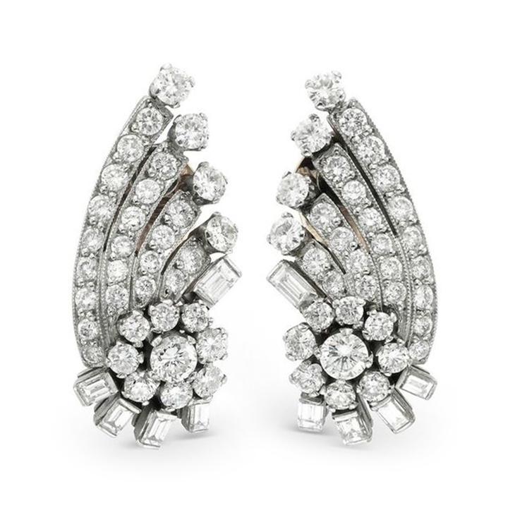 A Pair of Diamond Ear Clips, circa 1960