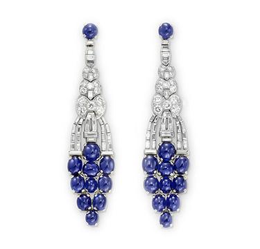 A Pair of Art Deco Sapphire and Diamond Ear Pendants, circa 1925