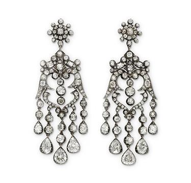 A Pair of Antique Diamond Ear Pendants, circa 1850