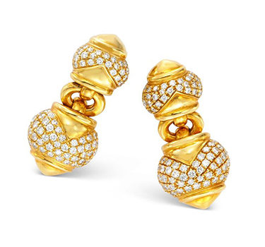 A Pair Of Gold And Diamond Ear Clips, By Bulgari, Circa 1985