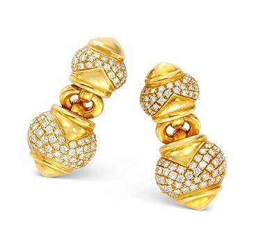 A Pair of Gold and Diamond Ear Clips, by Bulgari, circa 1985