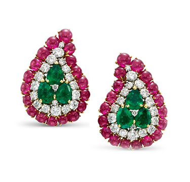 A Pair of Cabochon Ruby, Emerald and Diamond Ear Clips, by Bulgari, circa 1960