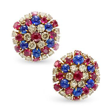 A Pair of Sapphire, Ruby and Diamond Ear Clips, by Bulgari, circa 1960