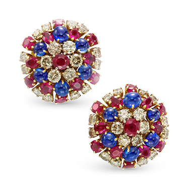 A Pair of Sapphire, Ruby and Diamond Ear Clips, by Bulgari, circa 1960